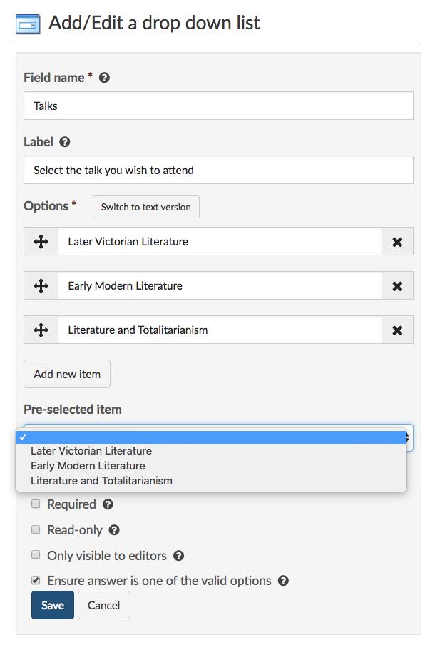 Add a drop-down list to a form - SiteBuilder help - IT Services
