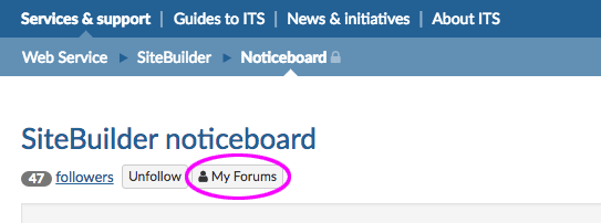 My Forums button