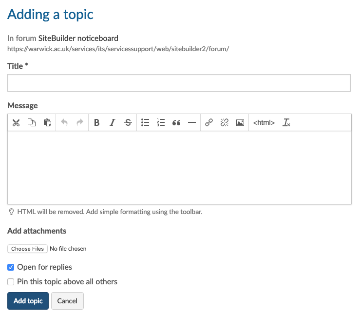 Add a topic to a discussion forum