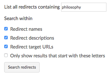 List all redirects