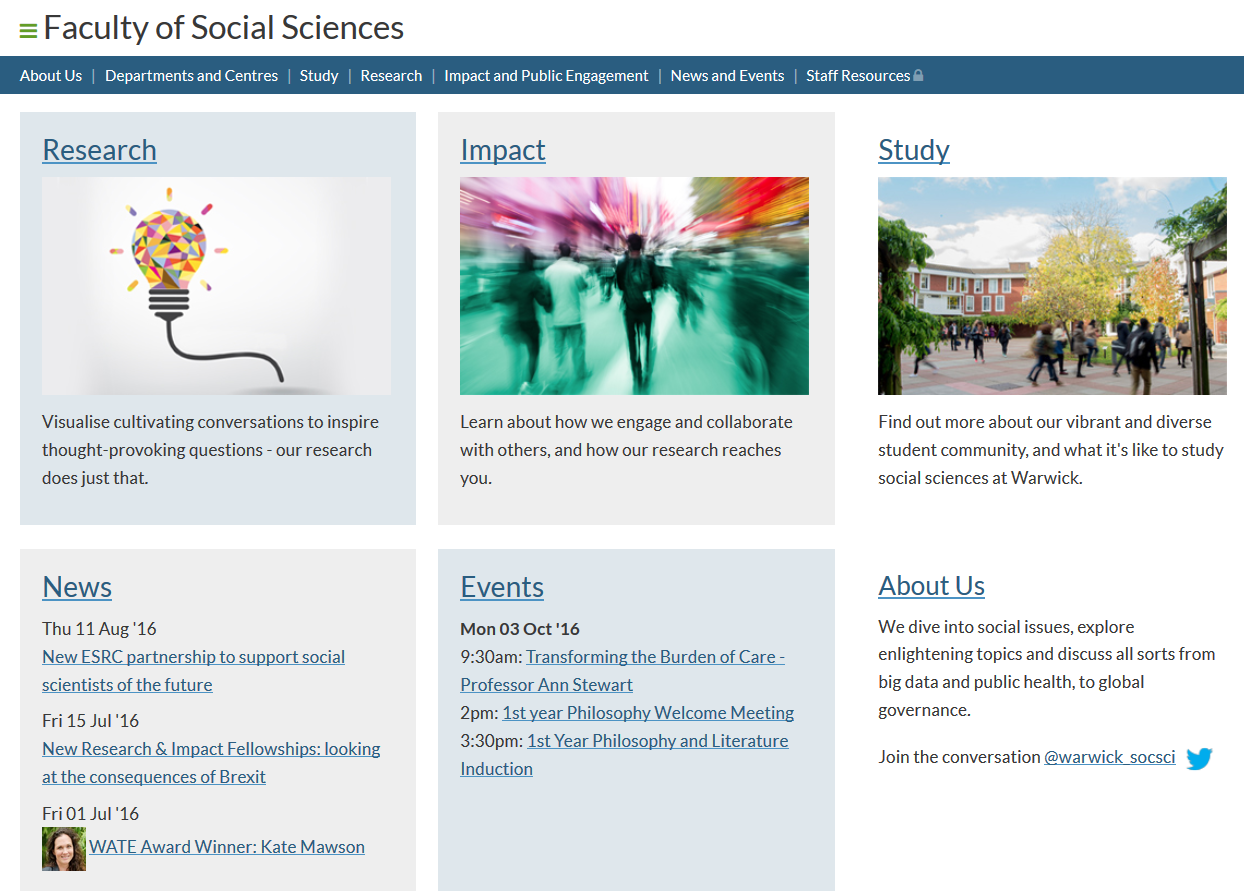 News feed on the Faculty of Social Sciences home page