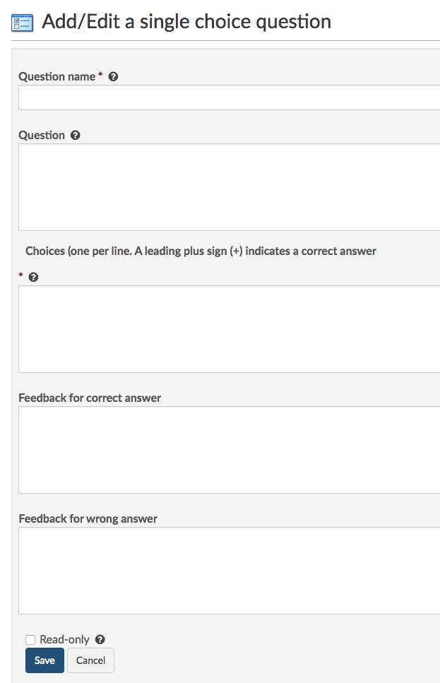 Add a single choice question