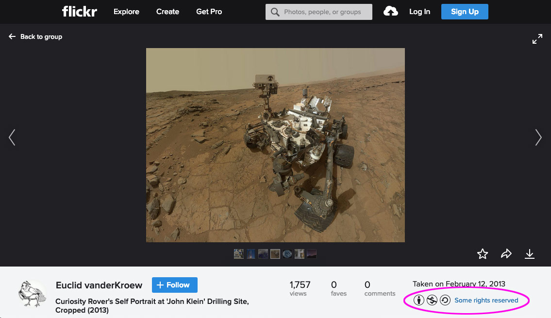 Licence details for Curiosity Rover image circled