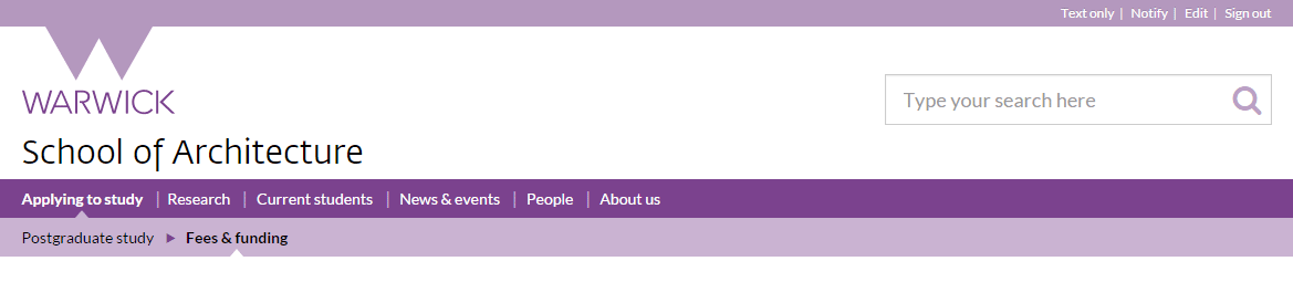 Example navigation menu
