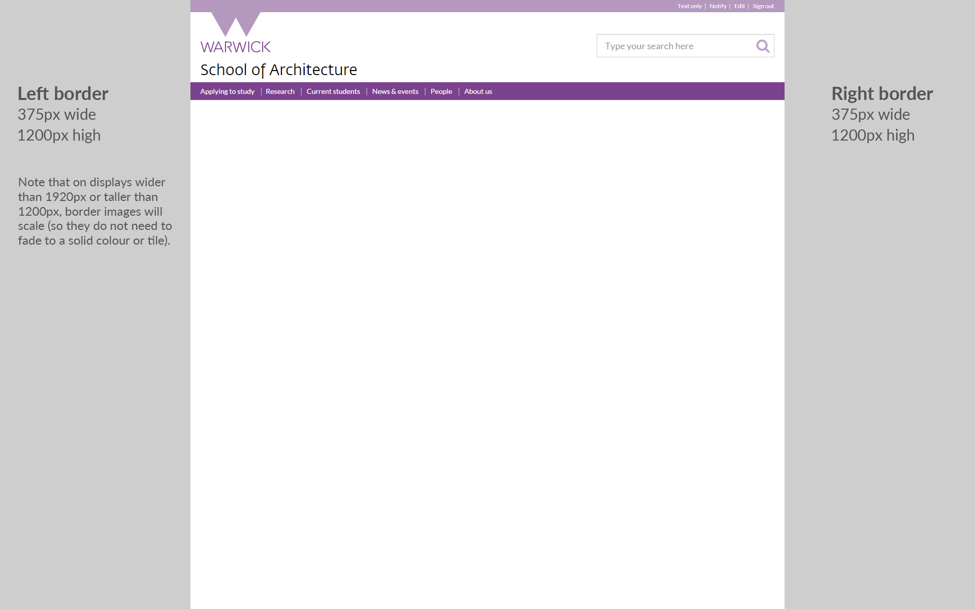 Screenshot of page border position and image sizes