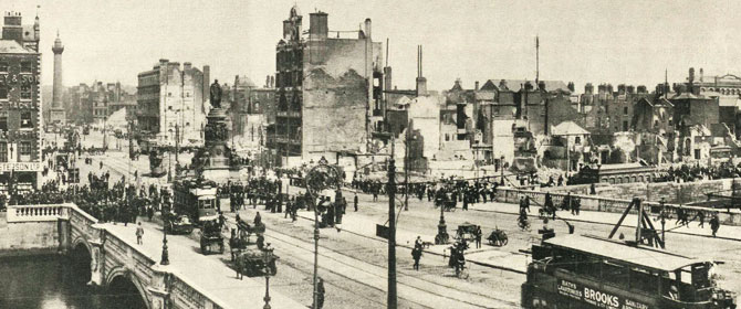 A sepia photograph portraying Dublin's O'Connell Street in the early 20th century
