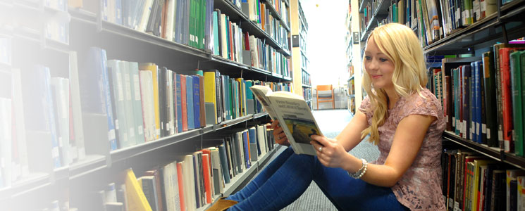 female student in the Library.