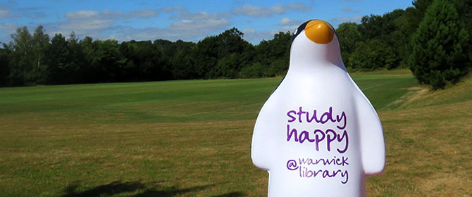 Kirby (squeezy stress) penguin - the Library Study Happy mascot