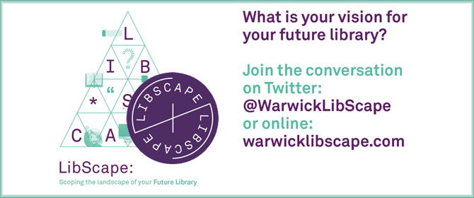 Promotional logo for 'LibScape', scoping the landscape of your future Library