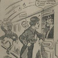 Extract from cartoon showing female railway guard during the First World War