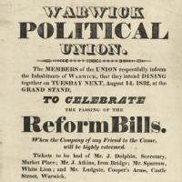 Extract from Warwick Political Union leaflet about the Reform Bill