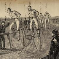 Engraving of 19th century cycle race