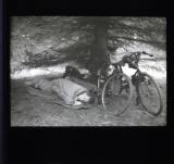 Man sleeping under tree