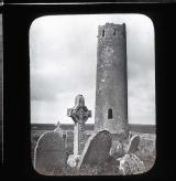 Round tower and Celtic Cross, Clonmacnoise