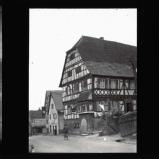 Timber framed house and Nazi flag, near Eberbach