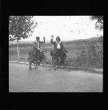 The women on their bikes at Portbou