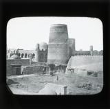 Great Minaret, Khiva: 'It was intended for a Great Tower at least twice as high but was never finished. On the outer surface are built texts from the Koran.'
