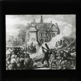 'Burning the guillotine on the Place Voltaire' [illustration from 'My adventures in the Commune, Paris 1871' by Ernest Alfred Vizetelly]