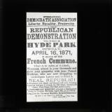 International Democratic Association poster for great republican demonstration in Hyde Park, London, 16 April 1871, in honour of the Paris Commune