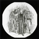 'Types de la Commune: Peloton d'Arrestation (Un Otage)' [illustration from 'Les Communeux 1871. Types, caracteres, costumes' by Bertall]