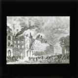 'The destruction of the Ministry of Finances, Rue de Rivoli' [illustration from 'My adventures in the Commune, Paris 1871' by Ernest Alfred Vizetelly]