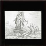The peasant under taille and corvee, showing the burden placed upon the peasantry under Louis XV's administration in 1765. The corvee forced labour was the most hated of all.