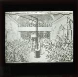 A grand seance at the Jacobin Club on the declaration of war in 1792. The war minister Dumouriez is represented with a pigeon's head