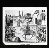 John Ball preaching. A priest, leader with Wat Tyler. In several respects a precursor of Wycliffe, constantly charged with heresy from 1366. Hanged, drawn and quartered in 1381.