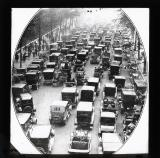 Victoria Embankment during the strike. Cars were recruited to bring the City workers from home to business.