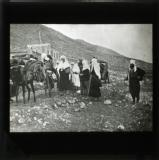 A convoy of Druse refugees crossing the border on the North frontier of Palestine