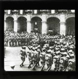 Preparing for trouble with the U.S.A. Mexican infantry parading before the Government palace in Mexico City.