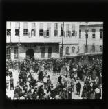 The police in El Margi Square turning back the mob of Arab rioters who demonstrated before the hotel in which the statesman was staying. April 1925.