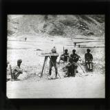 Survey section in the Kyber pass working under the protection of guard. The force of six brigades was entirely Indian except for officers and specialists.