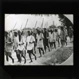 Indian police with their bamboo poles setting out to drive back the Akalis. A scene in Amritsar during the recent conflict between the Akali Sikhs and the police at the Guru ka Bagh shrine.