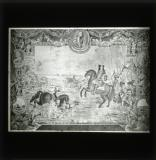 'Dublin-made tapestry presenting the Battle of the Boyne, William the Third at the crossing, and death of Schomberg', hung in the Lords' Chamber, Parliament House, Dublin