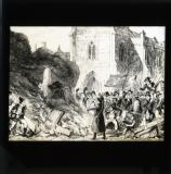 George Cruikshank cartoon from William Maxwell's History of the Irish rebellion in 1798 (published 1845): 'Destruction of the church at Enniscorthy'