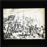 George Cruikshank cartoon from William Maxwell's History of the Irish rebellion in 1798 (published 1845): 'Executions at Wexford Bridge'