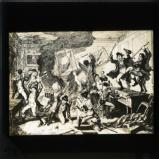 George Cruikshank cartoon from William Maxwell's History of the Irish rebellion in 1798 (published 1845): 'Rebels destroying a house and furniture'