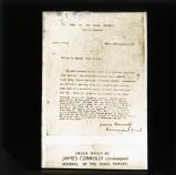 'Order issued by James Connolly, Commandant General of the rebel forces'
