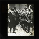 Prime Minister David Lloyd George inspecting soldiers