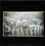 'The Ulster Volunteers at Larne Harbour landing the German arms and ammunition from the 'Mountjoy' on Friday, 24th April 1914'