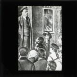 Illustration showing Lenin being greeted at Finland Station, Petrograd, in April 1917, on his return from exile in Switzerland