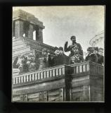 Trotsky and others at Lenin's mausoleum, Red Square, Moscow