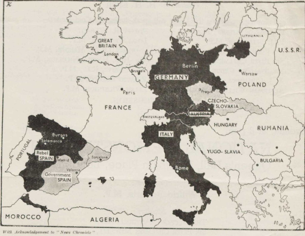 Map Of Spain And Europe.Spanish Civil War Maps Modern Records Centre University Of Warwick