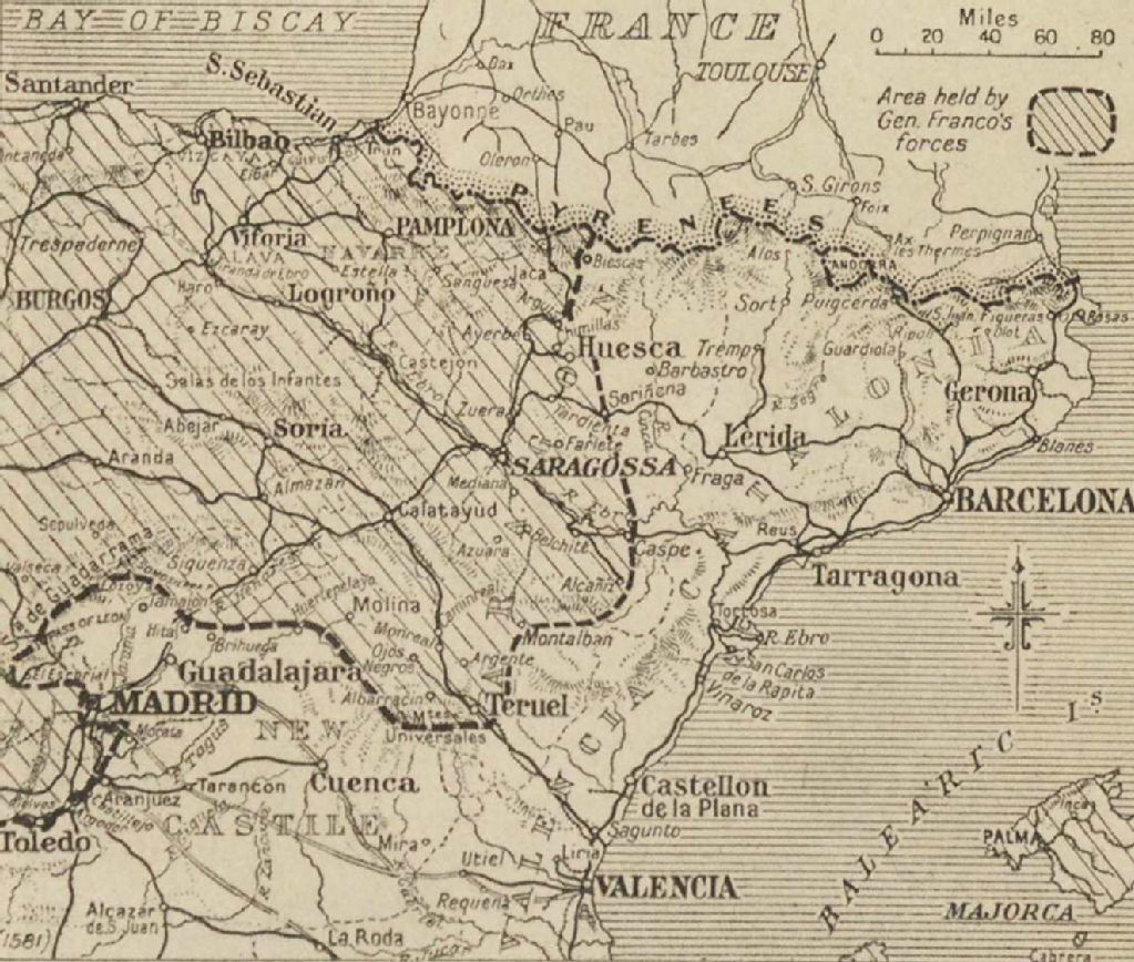 Map Of Northern Spain.Spanish Civil War Maps Modern Records Centre University Of Warwick