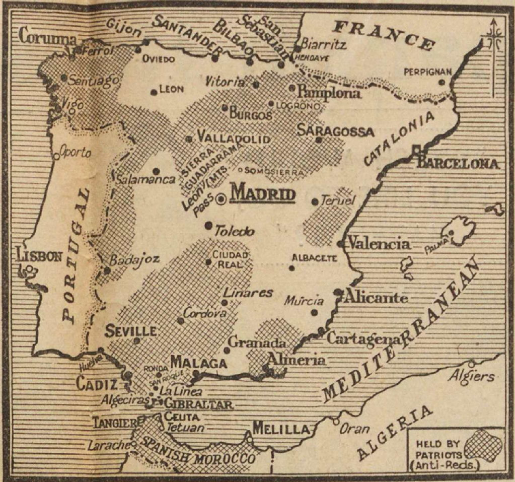 Map Of Spain Valladolid.Spanish Civil War Maps Modern Records Centre University Of Warwick