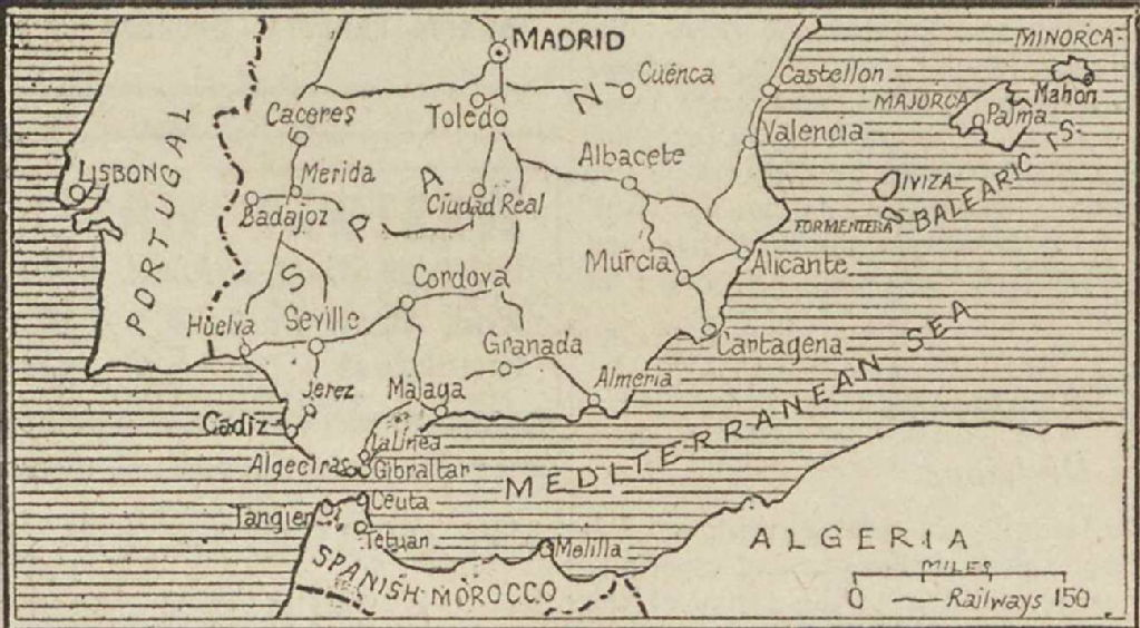 Detailed Map Of Southern Spain.Spanish Civil War Maps Modern Records Centre University Of Warwick