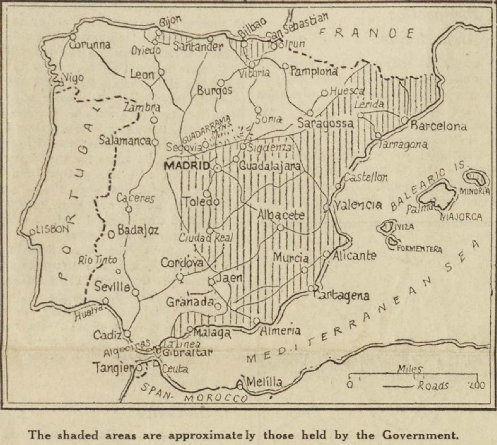 Spanish Map Of Spain.Spanish Civil War Maps Modern Records Centre University Of Warwick