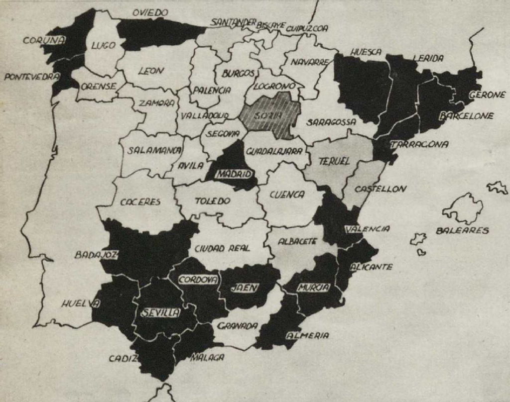 Blank Map Of Spain Regions.Spanish Civil War Maps Modern Records Centre University Of Warwick
