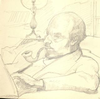 Sketch by Ruth Gollancz of her husband Victor, 1929 (part of  MSS.157/6/RG/3)